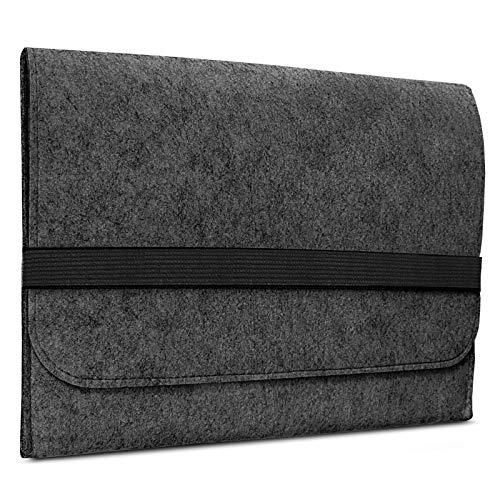 ROYALZ Filz Tasche für Microsoft Surface Laptop 2 Hülle (auch für Microsoft Surface Laptop geeignet) Sleeve Design Cover Filztasche Hülle, Farbe:Dunkelgrau