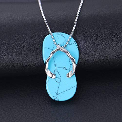 YOUHU Stein Anhänger Halsketten,Unisex Lustige Pantoffel Schuh Natural Blue Türkis Edelstein Anhänger Trendy Silber Perlenkette Sommer Charms Schmuck Geschenk Für Männer Frauen