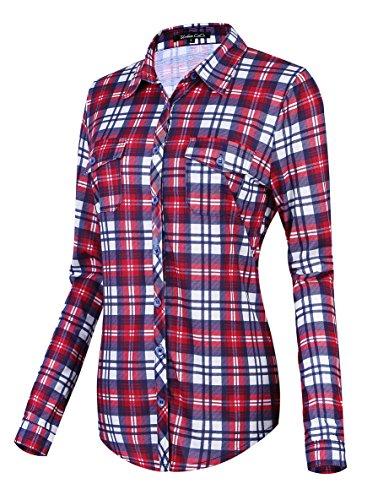 Damen Karierte Blusen Langarmhemd Karierte Bluse Plaid Shirt (XXL, 4)
