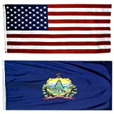US Flag with Vermont State Flag 3 x 5-100% American Made - Nylon