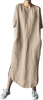Shallood Donna Estivo Elegante Scollo a V Manica Corta Vestito Sciolto Casual Estivi Maglietta Camicetta Vestito da Spiagg...