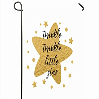 Ahawoso Outdoor Garden Flag 28x40 Inches Baby Black Twinkle Printable Little Star Birth Text Cute Dream Birthday Announcement Arrival Bedtime Seasonal Home Decor Welcome House Yard Banner Sign Flags