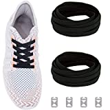 No Tie Shoelaces with Elastic Band, Tieless Replacement Flat Shoe Laces: Black
