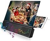 Pomya Ampliador de Pantalla, Amplificador portátil de Video de 12 Pulgadas con Amplificador de Pantalla HD para teléfono móvil con Altavoz para Ver películas móviles en 3D