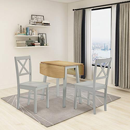 GOLDFAN Dining Table With 2 Chairs Foldable Wooden Table Set and Dining Chairs With Backrest for Kitchen Dining Room Living Room Restaurant, 90cm, Gray