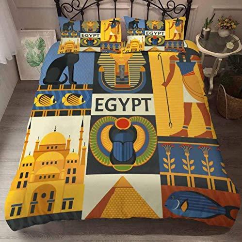 ysldtty Bedding Set 3D Print Egyptian Pharaoh Duvet Cover Set And Pillowcase Luxury Bedding Set King Size Home Textiles Egyptian 220cm x 240cm