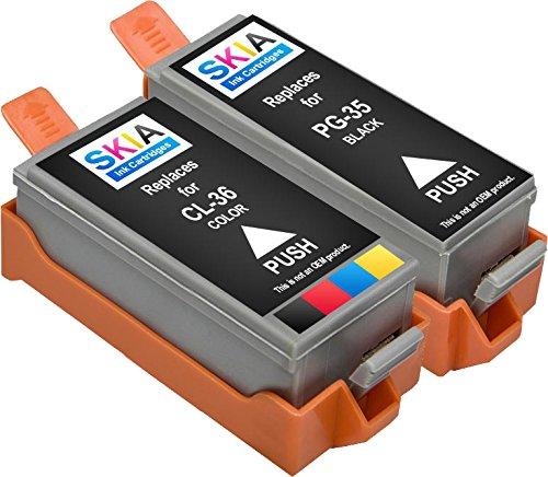 Skia – Cartucho de Tinta refabricado para Usar en Lugar de Canon CLI-36 PGI-35, PIXMA iP100 iP110, Pack de 2