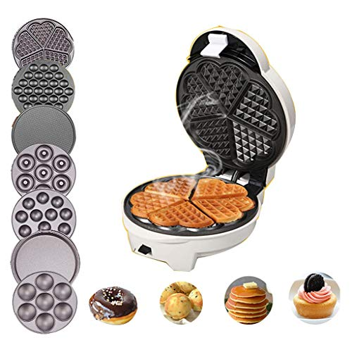 Waffle Maker With 7 Removable Plates, Automatic Multifunction Waffle Cone Maker Easy Clean, Non-Stick For Waffles, Hash Browns, Or Any Breakfast, Lunch
