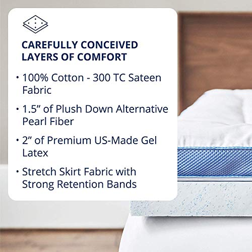 ViscoSoft Pillow Top Latex Mattress Topper Queen - Serene 3 Inch Gel Latex Mattress Pad + Premium Quilted Cover