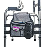 Side Walker Bag (Double Side), Walker Organizer Pouch with Cup Holder, Provides Hands Free Storage for Rollator or Folding Walker (with 5 Pouches)