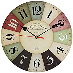 Adalene Wall Clocks Battery Operated Non Ticking 12 inch - Vintage Wood Colorful Kitchen Wall Clock Silent - Analog Quartz Wooden Wall Clocks Large Decorative for Kids Bedrooms, Living Room, Bathroom