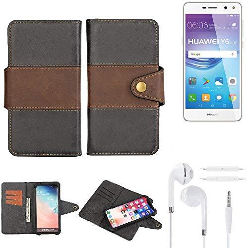 K-S-Trade® Handy-Hülle Schutz-Hülle Bookstyle Wallet-Case Für -Huawei Y6 2017 Single SIM- + Earphones Bumper R&umschutz Schwarz-braun 1x