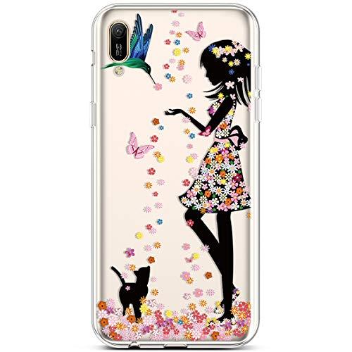 Jinghuash Kompatibel mit Huawei Y6 2019 [US-Version] Hülle Transparent TPU Silikon mit Muster Ultra Dünn Durchsichtig TPU Stoßfest Bumper Handyhülle Schutzhülle Tasche Case-Mädchen und Katze