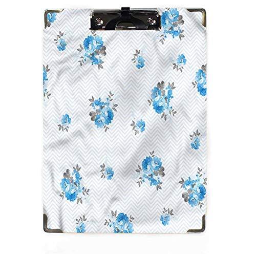Rose Decor - Appunti in truciolato, a basso profilo, con clip di colore blu, stile romantico, con clip a basso profilo, per studenti, infermieri, aule, scuola, ufficio