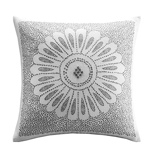 INK+IVY Mid Century Modern Cotton Decorative Pillow Hypoallergenic Sofa Cushion Lumbar, Back Support, 20'x20', Sofia, Grey
