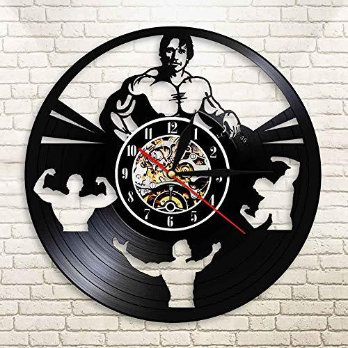 Culturismo Hombres Arnold Schwarznegger Reloj de Pared con Disco de Vinilo Gym Workout Fitness Daren Reloj de Pared Decorativo para Colgar en la Pared