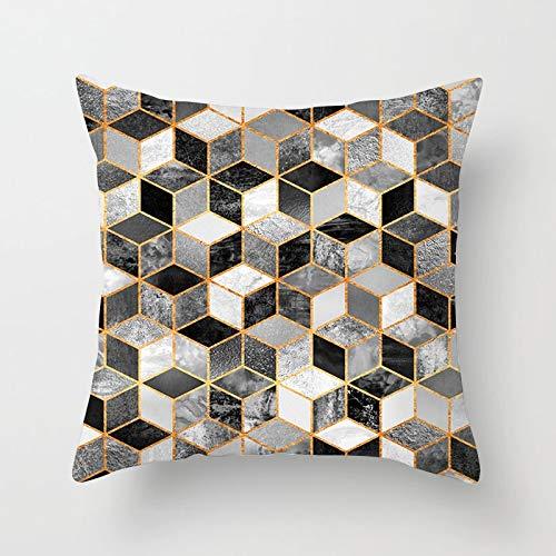 PPMP Funda de Almohada de Oro Rosa con Forma de corazón de piña, Funda de cojín geométrica, Funda de cojín para sofá para el hogar, Funda de cojín A5 45x45cm, 1pc