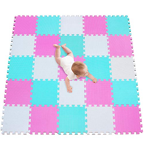 meiqicool Alfombra puzle 142 x 142cm Niños 25 Piezas Cuadrado Goma Espuma EVA,Alfombra Puzzle para Niños Bebe Infantil,esteras de Alfombra puzle para Niños Goma Espuma Blanco-Rosa-Turquesa