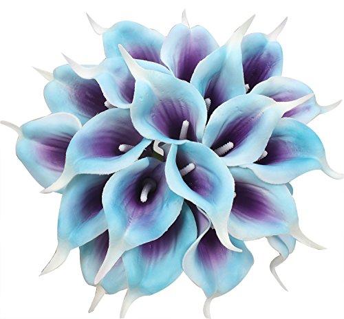 Xiuer Kunstblumen Sumpf-Callas aus Latex, lebensechter Brautstrauß auch für zu Hause oder als Partydekoration geeignet, 20 Stück violett, blau