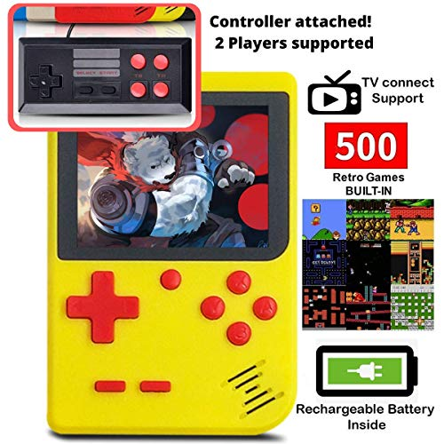 DigitCont Retro Mini Handheld Arcade, Built-in with 500 Classic Games Double Players Mode Miniature Console Handheld Portable Game Cabinet Machine Rechargeable Battery Inside Support Connect TV Yellow