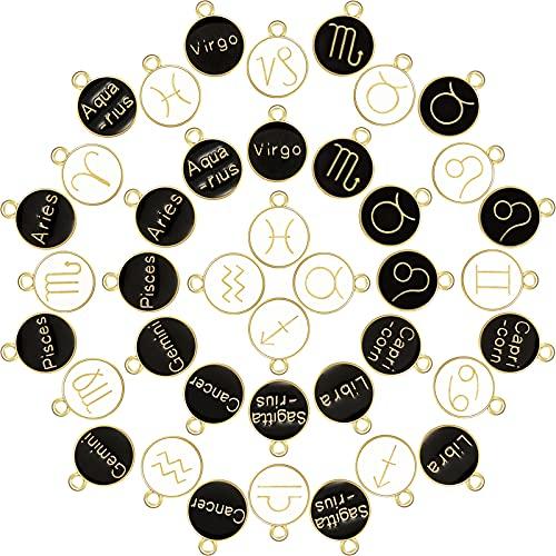 72 Pieces Zodiac Charm Round Enamel Metal Charms Double Sided Charms Twelve...