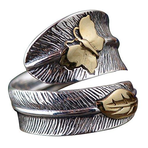 Herren Damen Vintage Schwarz 925 Sterling Silber Feder Ring mit Gold Schmetterling Verstellbar