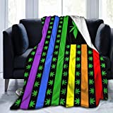 Flannel Fleece Throw Blanket Rainbow Marijuana USA Gay Pride Flag Home Soft Blankets for Kids Adults Baby Toddler Dog Cat 50 x 40 Inch