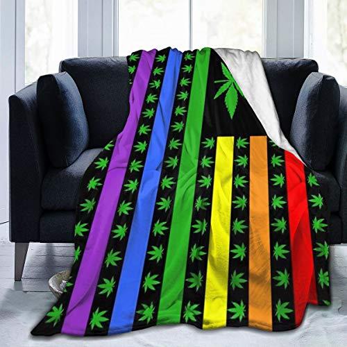 Manta de franela de forro polar, diseño de marihuana arcoíris, bandera del orgullo gay, para niños, adultos, bebés, perros, gatos, etc.