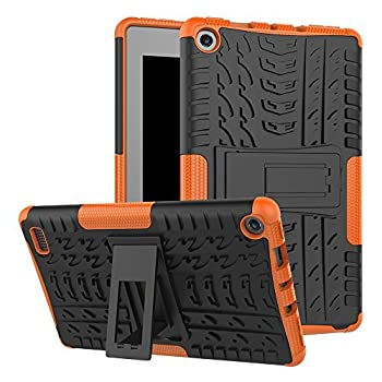 MAOMI for Kindle fire 7 case 2017 Release,Kickstand Shock-Absorption Heavy Duty Armor Defender Cover  Orange