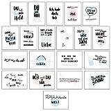 CUPCAKES & KISSES 20er Postkarten Set Liebe I Schöne Sprüche & Motive I Grußkarten mit Herz für Freunde & Freundin I Liebes Karten für Hochzeit