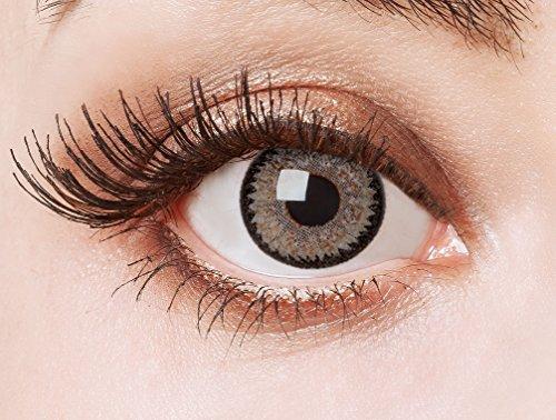 aricona Kontaktlinsen - Graue Kontaktlinsen ohne Stärke - Farbige Kontaktlinsen Motivlinsen mit funkelnder Diamanten-Optik, 2 Stück