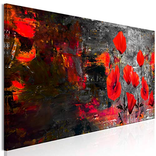decomonkey Bilder Abstrakt Mohnblumen 150x50 cm 1 Teilig Leinwandbilder Bild auf Leinwand Vlies Wandbild Kunstdruck Wanddeko Wand Wohnzimmer Wanddekoration Deko Blumen
