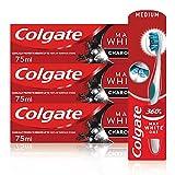 Colgate Kit Blanqueante al Carbón con Pasta de Dientes Blanqueante Max White Carbón (Pack 3 Uds x 75ml) y Cepillo...