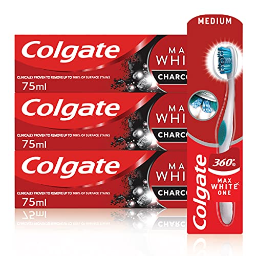 Colgate Charcoal Whitening Set mit Colgate Max White Charcoal Zahnpasta 3 x 75 ml und Colgate 360° Deep Clean Charcoal Whitening Zahnbürste