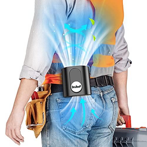 Ventilador Usb Portatil, 9600mAh Ventilador de Cintura con 3 Niveles Ajustables, Ventilador sin Aspas Iluminables, Mini Ventilador para Trabajo al Aire Libre / Viajes / Oficina (Negro)