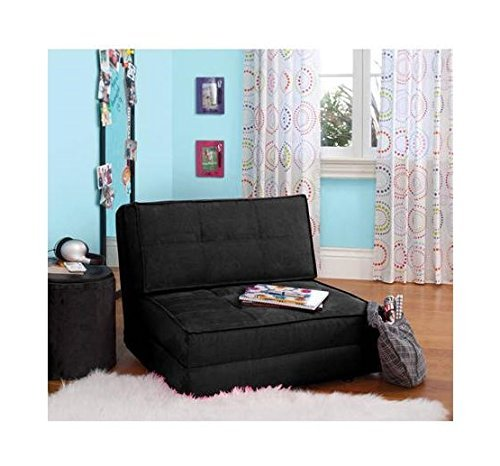 Your Zone Ultra Suede Convertible Flip Chair, L28.5 x W29.53 x H23.0, Black