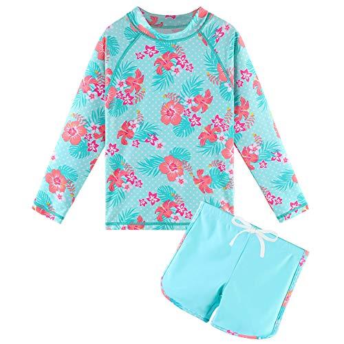 HUAANIUE Flickor 2st Långärmad Baddräkt Sunsafe Badkläder Barn Sommartryck Flower Swim Sets Solskydd UPF 50+ Simdräkt för tjej 3-11 år