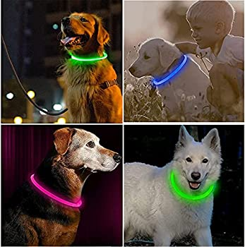 3 Pieces Light up Dog Collars Cuttable Led Dog Collar Light up Collar Silicone Led Dog Collar USB Rechargeable Waterproof Universal Reusable Dog Light up Collar for Night Safety  Green,Blue,Pink