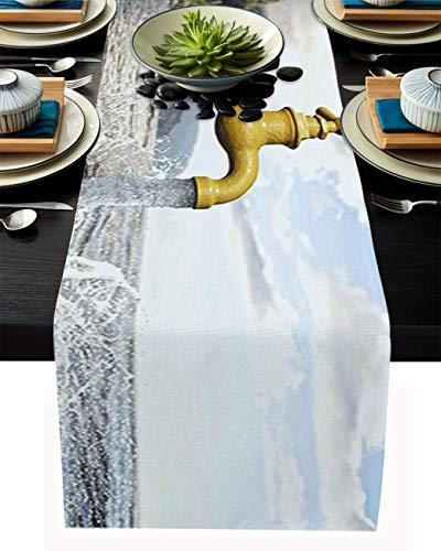 FAMILYDECOR Camino de mesa de arpillera de lino, bufandas de 45,7 x 182,8 cm, divertido grifo y paisaje marino, caminos de mesa para fiestas de vacaciones, comedor, cocina, decoración de boda