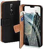 moex Handyhülle für Nokia 6.1 Plus - Hülle mit Kartenfach, Geldfach & Ständer, Klapphülle, PU Leder Book Hülle & Schutzfolie - Schwarz