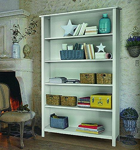 Bibliothèque, Style Classique, en Bois Massif et MDF - Mes. 125X38X200H+100% Made in
