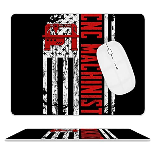 American Flag Patriotic CNC Machinist Leather Gaming Mouse Pad with Non-Slip Base Waterproof Foldable Desktop Pad
