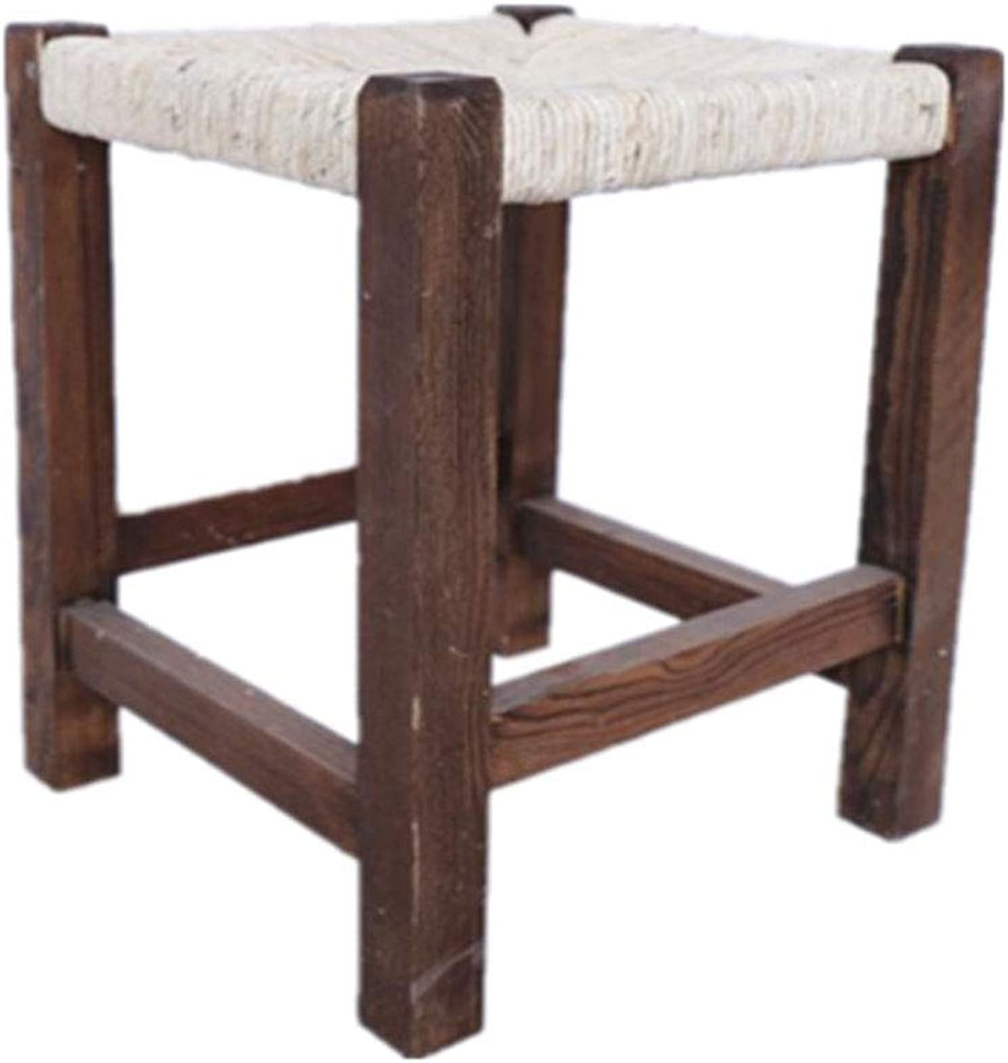 GWM Sofa Stool Solid Wood Stool - High Square Stool Carbonized Fashion High Stool Rattan Tea Stool Modern Minimalist Dining Table Stool Coffee Table Stool Sofa Stool