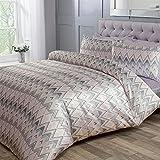 Sleepdown Chevron Jacquard Zig Zag - Juego de funda de edredón y fundas de almohada (200 x 200 cm), diseño de rayas, color rosa y gris