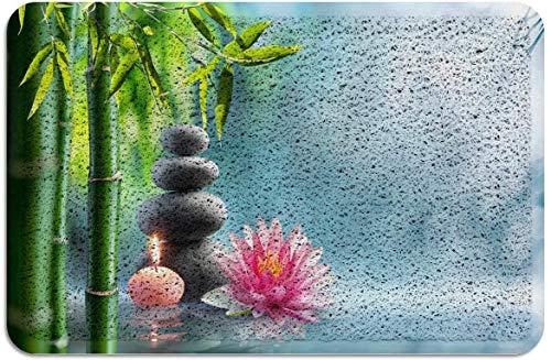 Felpudo de Piedra de bambú Zen Lotus Alfombras de Respaldo de Goma de PVC Alfombras de Piso Alfombra Antideslizante para Puerta de Entrada Interior Exterior Verde