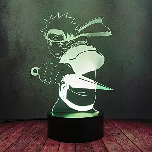 Uzumaki Naruto lucha LED 3D noche lámpara de escritorio, novedad Japón Anime figura USB Plug Flash luz de dibujos animados decoración creativa bebé sueño regalo bombilla lava Navidad Festival juguete