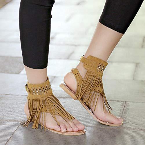 FKYGDQ Las Mujeres del Verano De Bohemia Sandalias Pisos Borlas Zapatos del Verano Ocasional Mujer Flip-Flop del Deslizador De La Playa Sandalias Zapatos Mujer (Color : Brown, Size : 37)