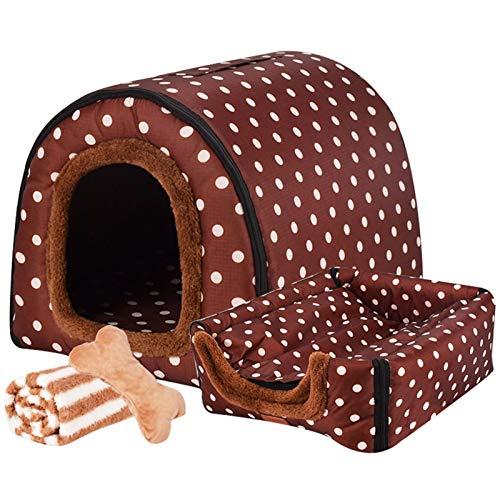 LTLJX Grande Cama para Perro Nido Lavable Cómoda Mascota Invierno Casa Mantener Caliente Cuatro Estaciones Perrera 2 en 1 Sofá,E,XL 75 * 60 * 55cm