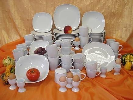 Preisvergleich für Square Weiss Kombi Service 100 teilig Neu Porzellan Geschirr Set 12 Personen Eckig