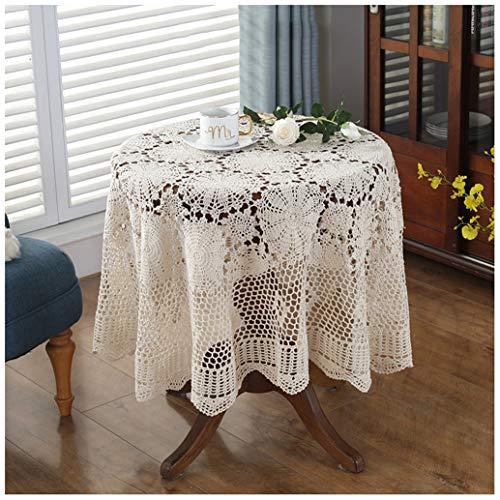 GHJL Mantel Vintage Crochet Hecho A Mano De Ganchillo, Algodón, con Encaje, para Bodas, Fiestas, (Color : Beige, Size : Square/150 * 150CM)